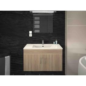 Meuble de salle de bain 80 cm - Lime - Blanc / Gris mat ou Chêne BAIN ROOM