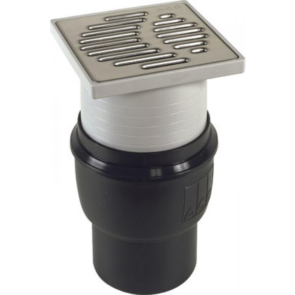 Bonde de douche l 39 italienne 150 x 150 mm ajustable sortie verticale aco passavant bricozor - Bonde rectangulaire douche italienne ...