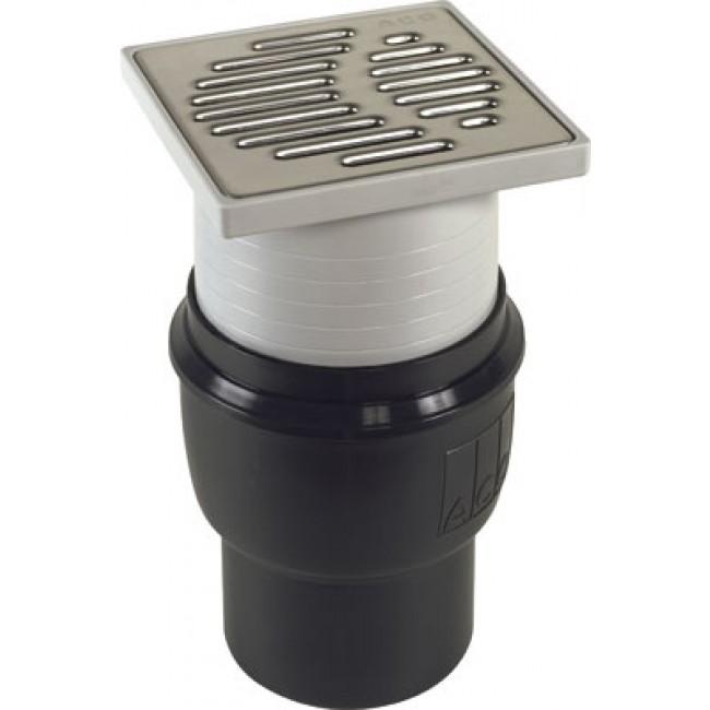 Bonde de douche à l'italienne 150 x 150 mm ajustable sortie verticale ACO PASSAVANT