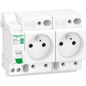 Combiné disjoncteur + double prise de courant embrochables XE SCHNEIDER