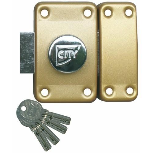 Verrou de sûreté City R6 à bouton intérieur s'entrouvrant sur variure AGL 697