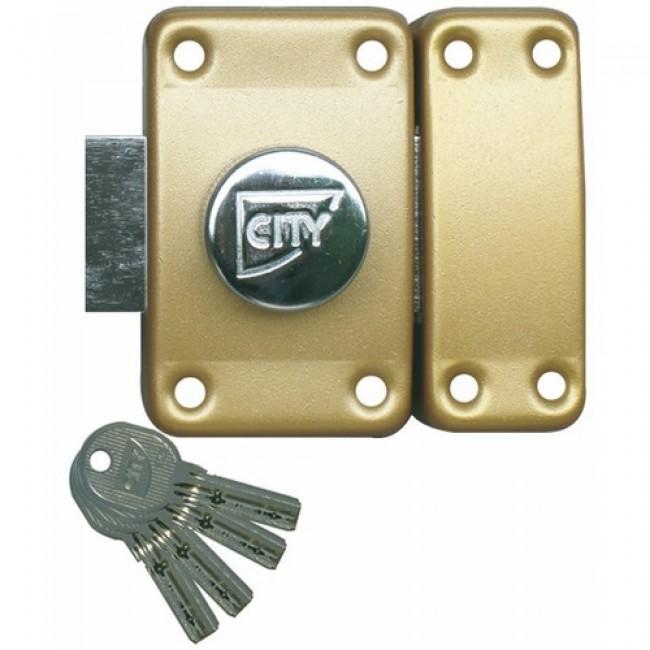 Verrou de sûreté City R6 à bouton intérieur s'entrouvrant sur variure AGL 697 ISEO CITY