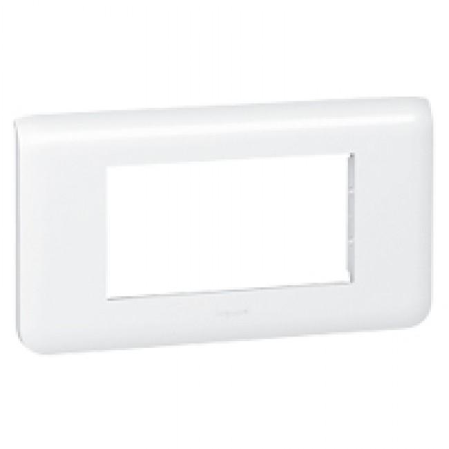 Plaque de finition horizontale Mosaic blanche - 4 modules LEGRAND