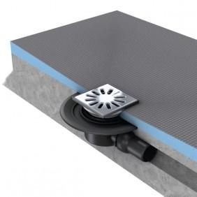 Kit de Siphon de sol - écoulement horizontal - grille carée - Wedi Fundo Wedi