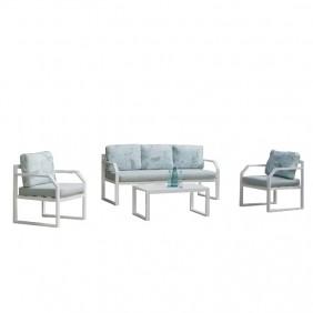 Salon de jardin - aluminium blanc - GENOVA HEVEA