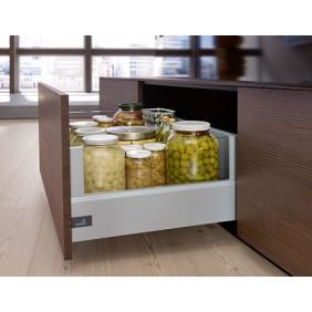 Adaptateurs DesignSide argents pour tiroir ArciTech-hauteur 124 mm HETTICH
