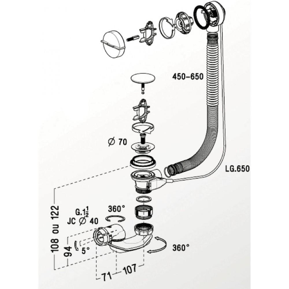 Vidage Automatique De Baignoire Easybain Avec Siphon Bi Matière