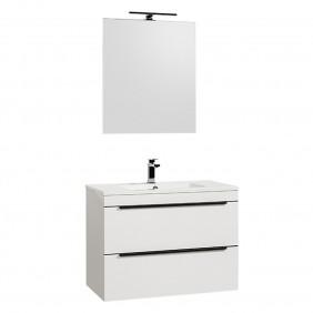 Meuble de salle de bains et miroir - 80 cm - Evy - blanc BATHDESIGN