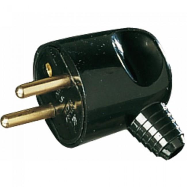 Fiche électrique mâle portefeuille à sortie latérale 16A 2P+T, noir EBENOID