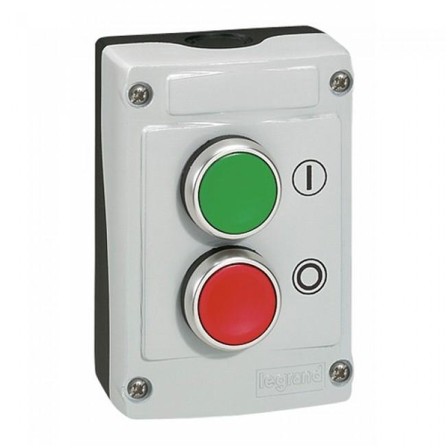 Boîte avec 2 boutons vert/rouge à impulsion LEGRAND