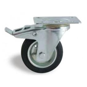 Roulette pivotante sur platine tole à frein - bandage caoutchouc noir AVL