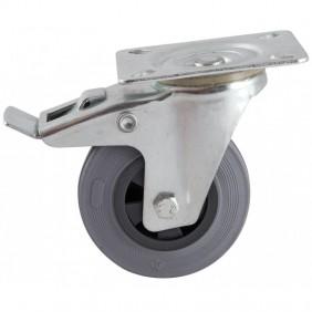 Roulette à bandage caoutchouc gris à platine pivotante à frein AVL