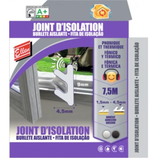 Joint d'isolation phonique et thermique adhésif - longueur 7,5 m ELLEN