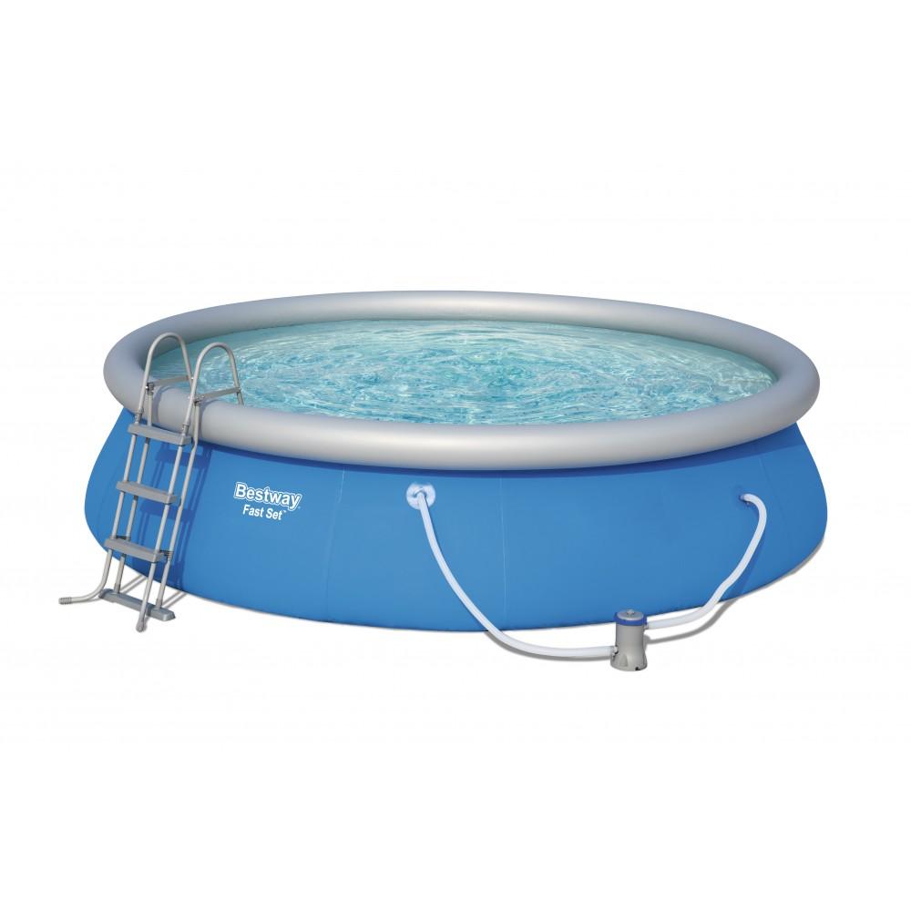 piscine autoport e ronde 457x107cm fast set pools accessoires bestway bricozor. Black Bedroom Furniture Sets. Home Design Ideas