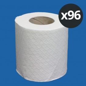 Lot de 96 rouleaux de papier toilette rouleau blanc pur - 180 feuilles - 2 plis PAPECO