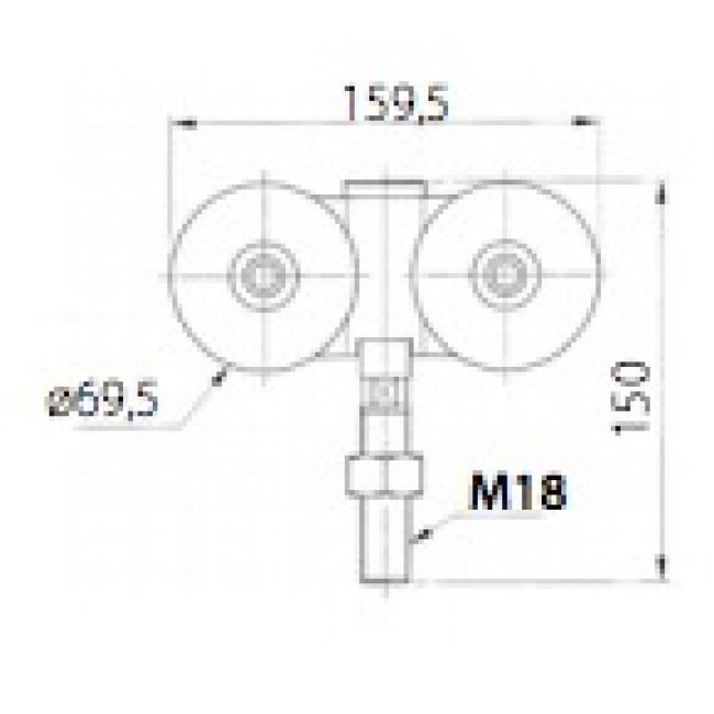 Roulettes doubles faible encombrement pour porte de - Roulette porte de garage coulissante ...