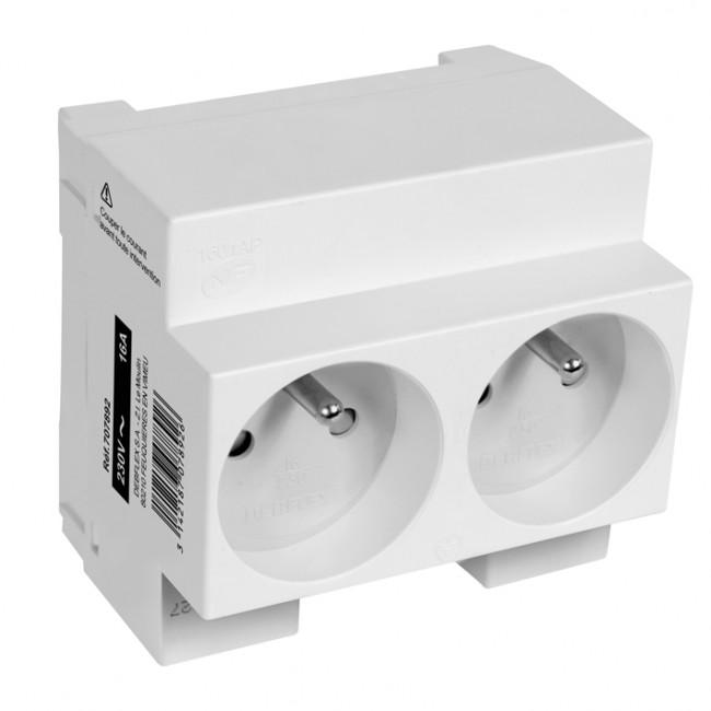 Double prise de courant modulaire 2P+T - 10/16A - gris DEBFLEX