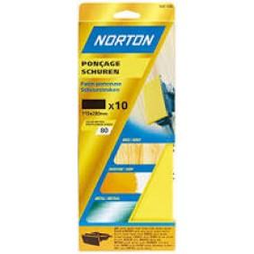 10 garnitures patin non perforé corindon 93X230mm grain 150 NORTON