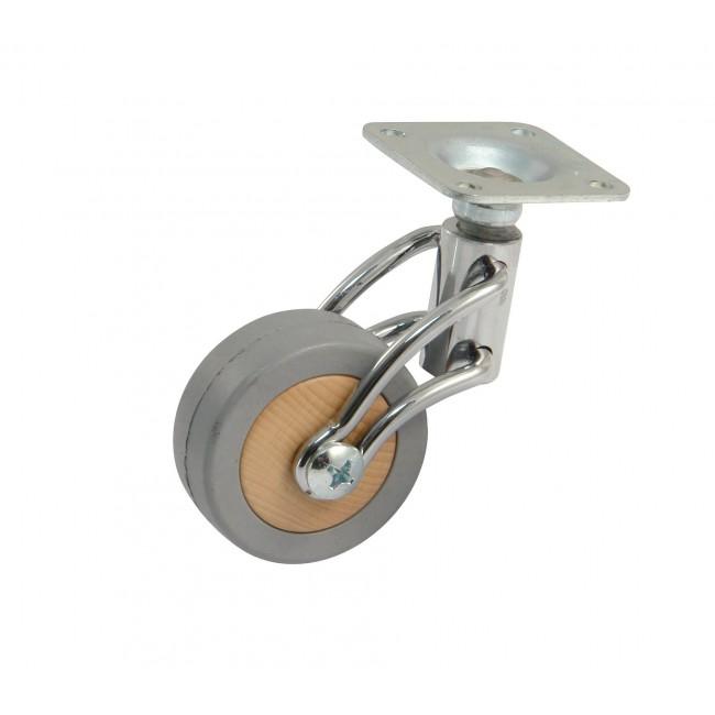 Roulette de meuble sur platine chromée - charge 50 kg AVL