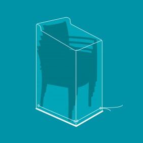 Housse de protection polyester pour 6 chaises - 66x66x110/150 cm VERT AZUR