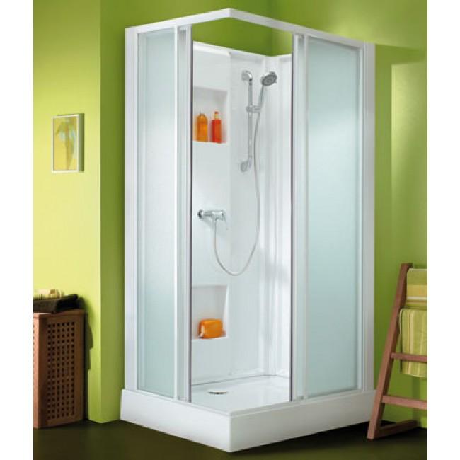 cabine de douche 100 x 80 cm acc s d 39 angle par portes coulissantes izibox leda bricozor. Black Bedroom Furniture Sets. Home Design Ideas