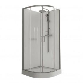 Cabine de douche - 90 x 90 cm arrondie portes coulissantes - Kara LEDA