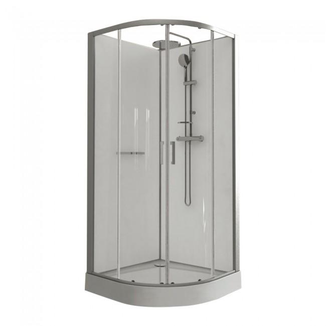 Cabine de douche Kara - 90 x 90 cm arrondie + serviteur de douche inox LEDA
