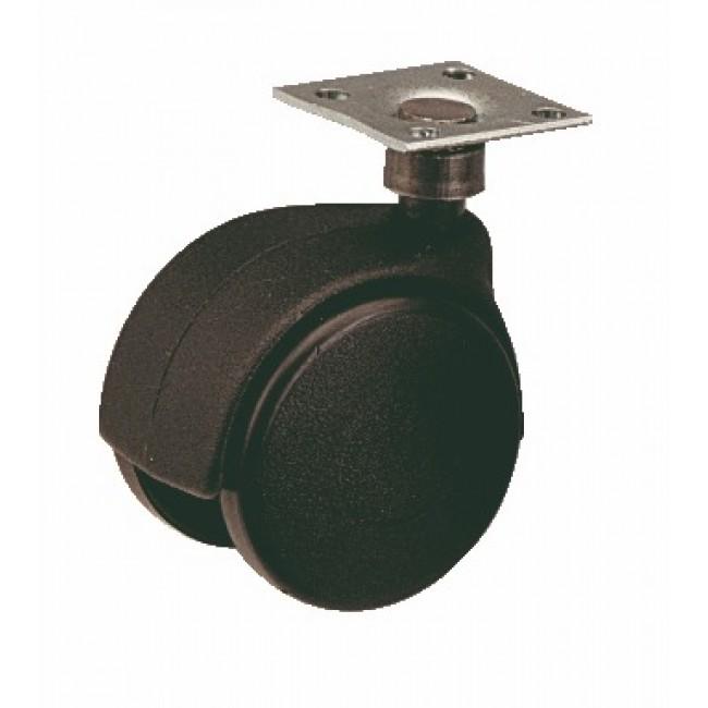 Roulette de meuble Twiny avec chape en plastique noir GUITEL