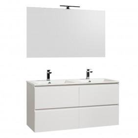 Meuble de salle de bains blanc - double vasque - 120 cm - Sia BATHDESIGN
