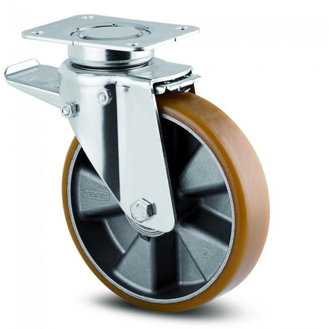 Roulette pivotante à blocage total - 137x105 mm - charges lourdes - Delta TENTE