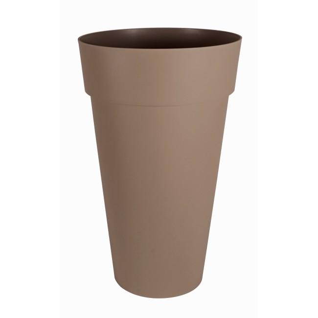 Pot haut rond taupe - diamètre 48 cm -  90 litres - Toscane 13637 EDA PLASTIQUES