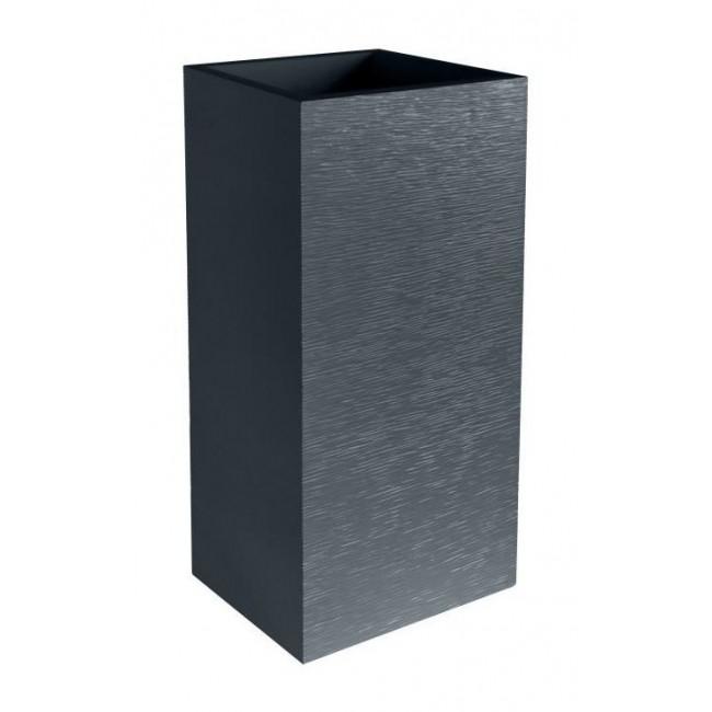 Pot carr hauteur 80 cm contenance 31 litres graphit - Pot exterieur rectangulaire ...