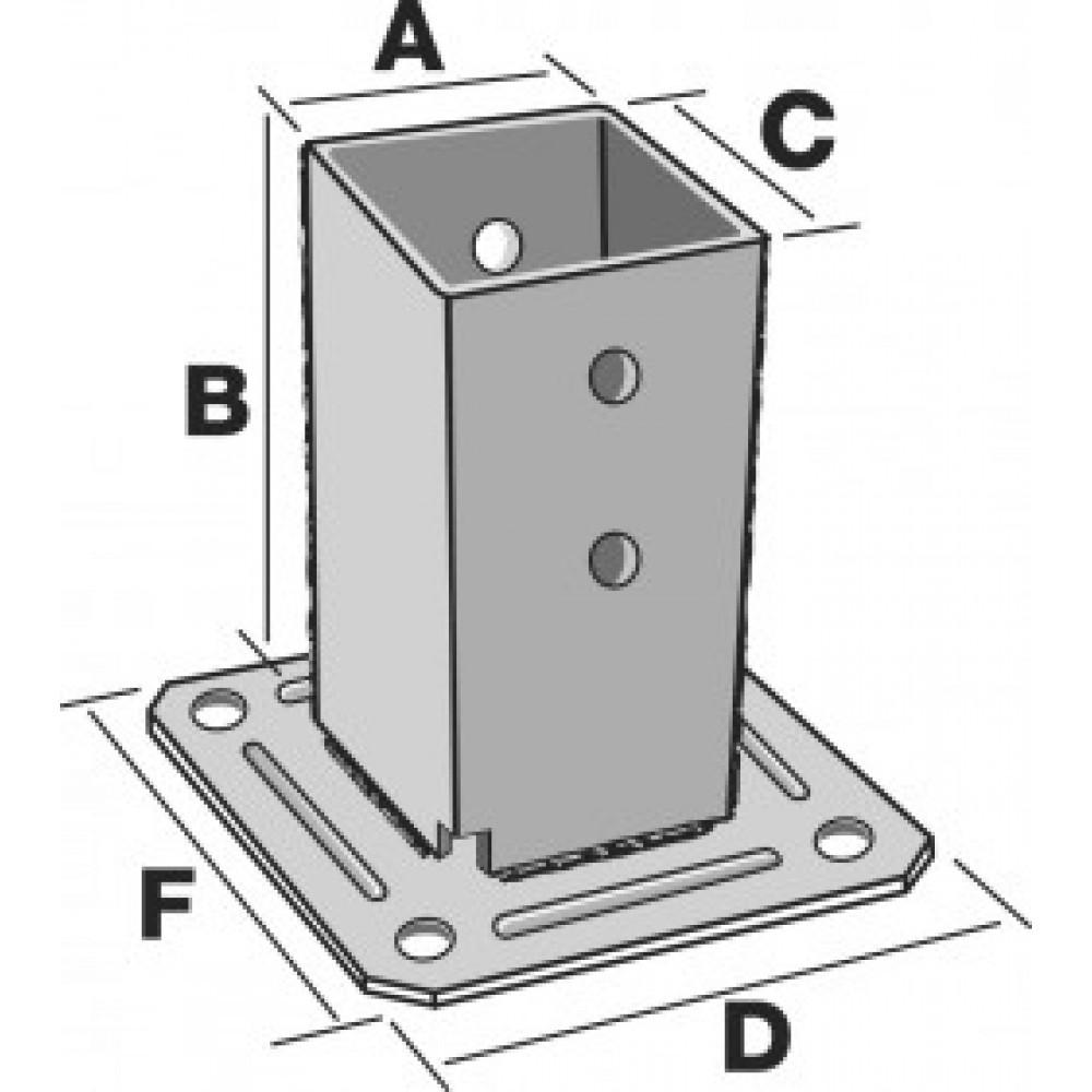pied de poteau carr sur platine avec kit de fixations. Black Bedroom Furniture Sets. Home Design Ideas