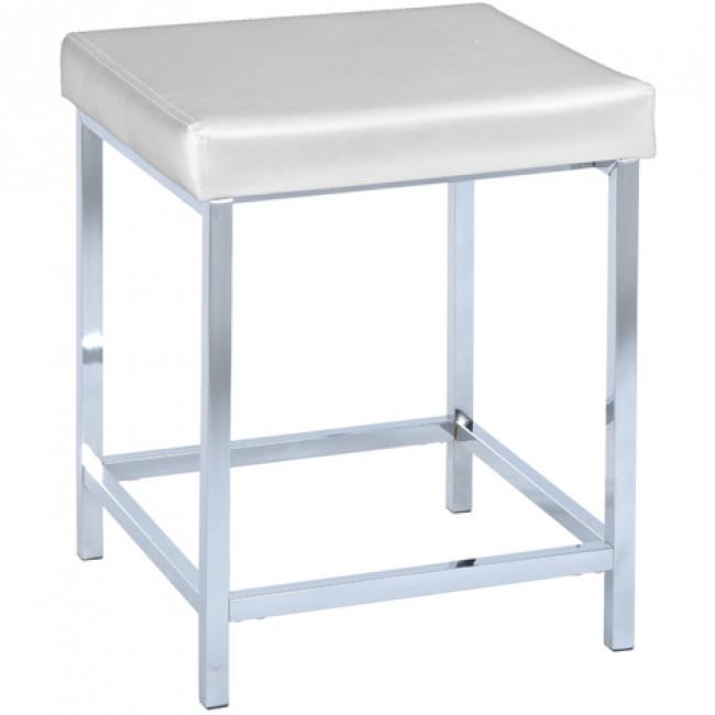 Tabouret pour salle de bain assise carrée rembourrée aspect cuir blanc WENKO