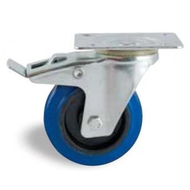 Roulette pivotante à frein sur platine - bandage caoutchouc bleu AVL