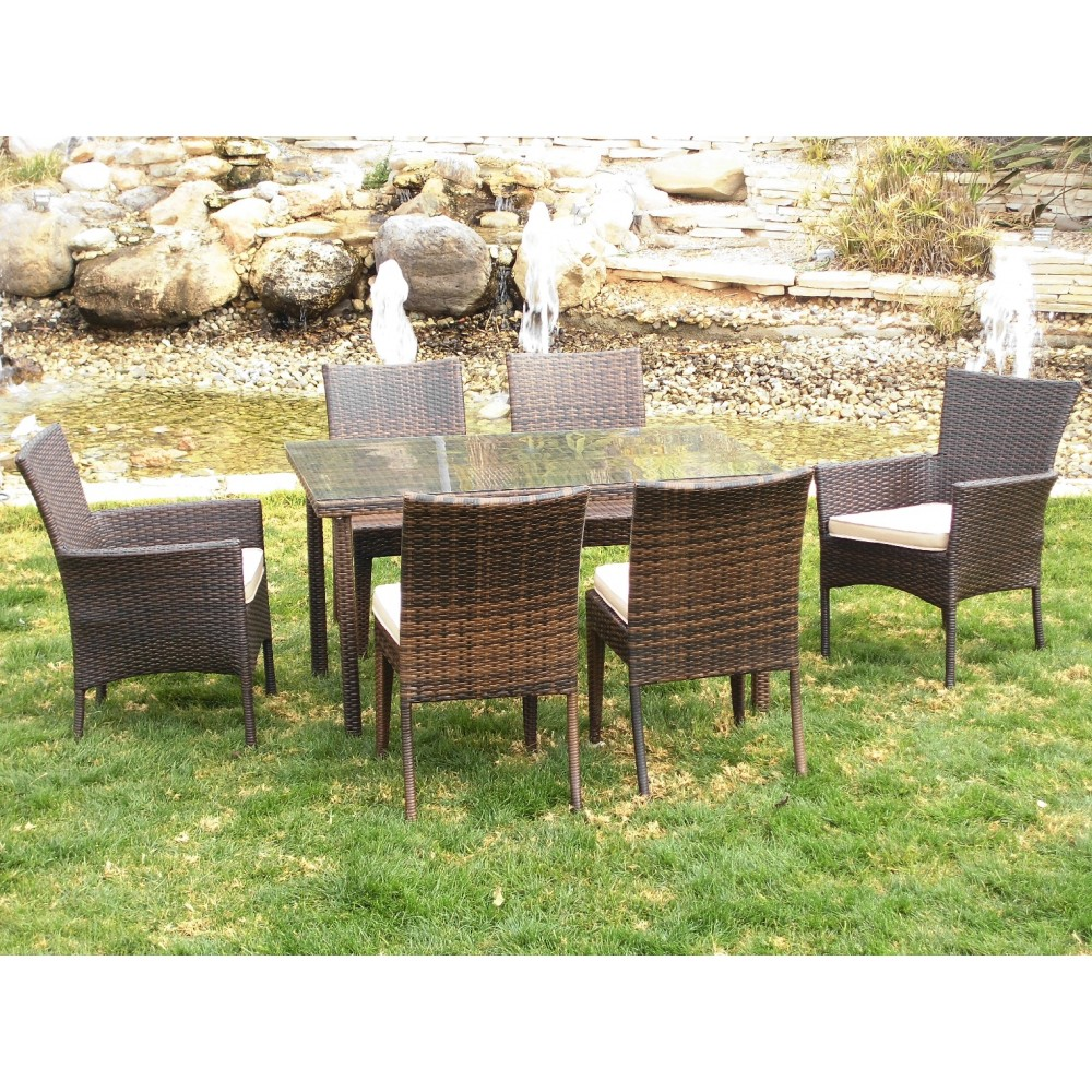 table de jardin 2 fauteuils tamaru et 4 chaises marzia. Black Bedroom Furniture Sets. Home Design Ideas