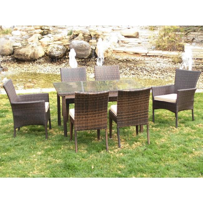 Table de jardin, 2 fauteuils Tamaru et 4 chaises Marzia, avec coussins INDOOR OUTDOOR