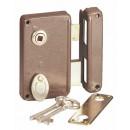 Serrure extra plate en applique verticale, modèle 821, clef à 4 gorges et fouillot