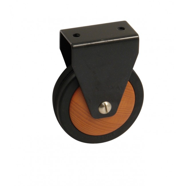 Roulette de meuble fixe - chape acier noir - galet bois AVL