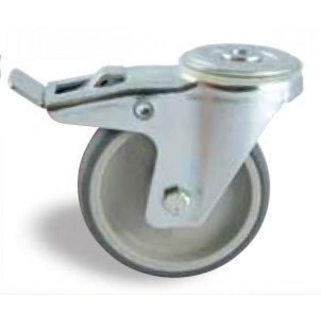 Roulette à bandage synthétique sur oeil pivotant à frein AVL