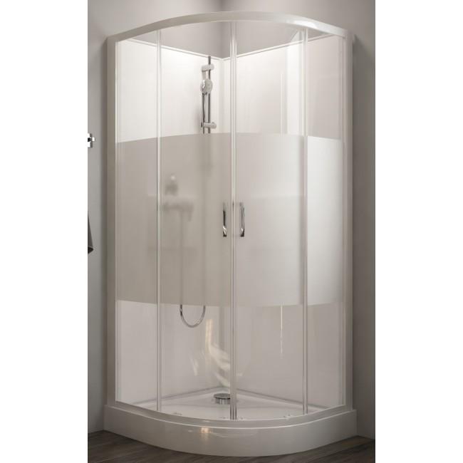 Cabine de douche - 1/4 de rond - à portes coulissantes - Izibox 2 LEDA