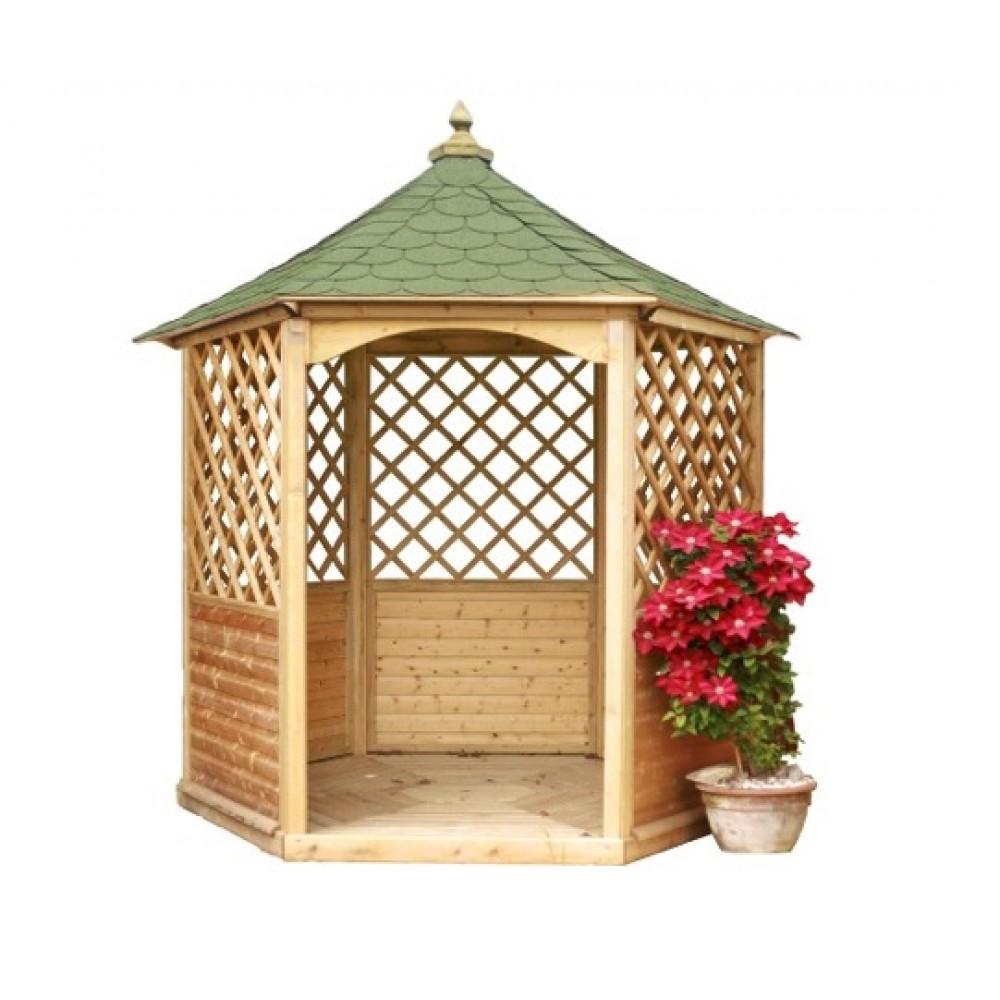 Kiosque En Bois Hexagonal kiosque de jardin hexagonal - diamètre 2,8 m - hauteur 3 m - ki 28 habrita  sur bricozor