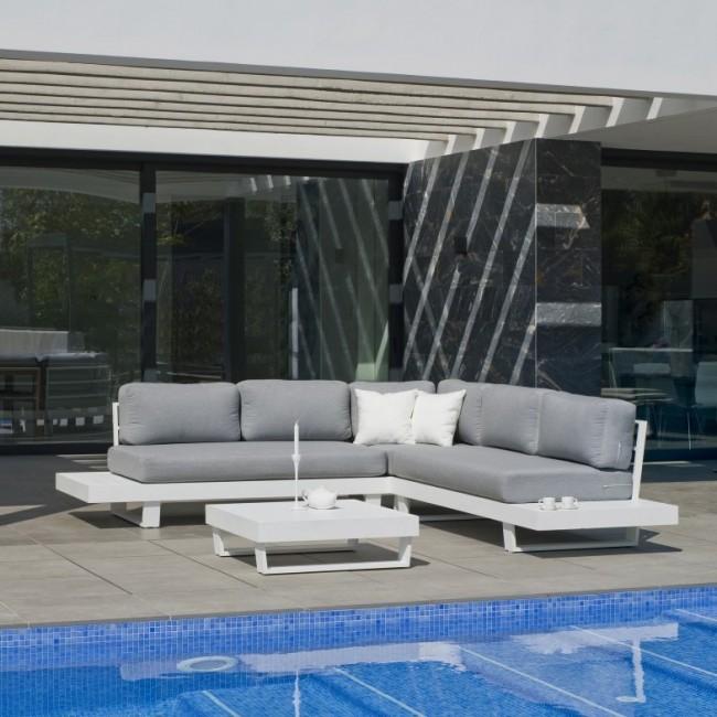Salon de jardin en aluminium - coussins gris clair - MENFIS HEVEA