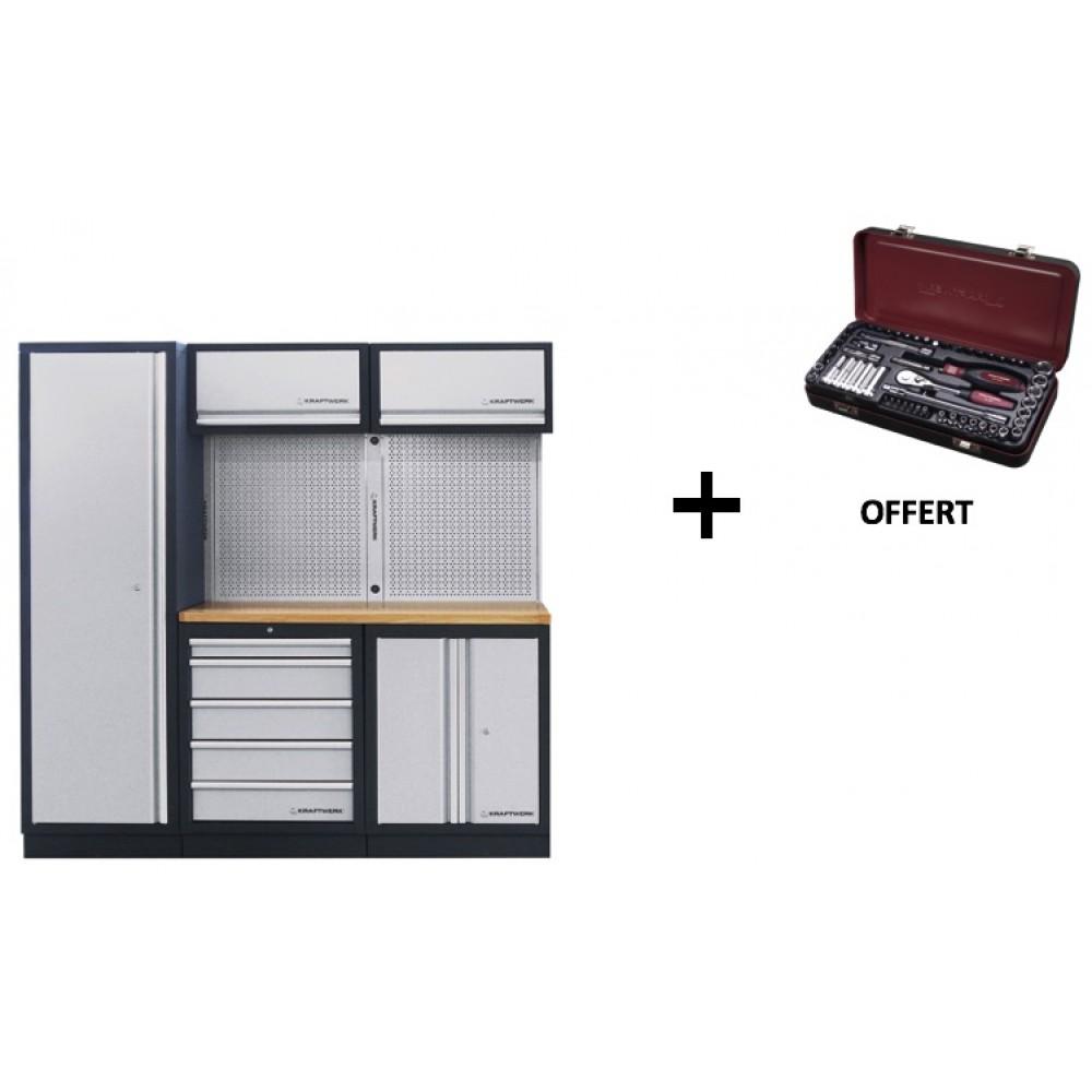 meuble d 39 atelier modulaire 3 l ments plan de travail au. Black Bedroom Furniture Sets. Home Design Ideas