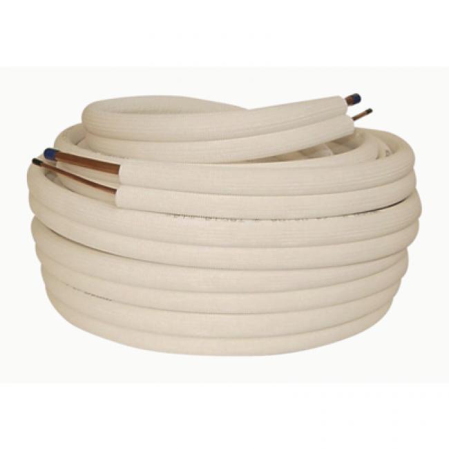 """Bi-tube cuivre frigorifique isolé - diamètre 1/2""""G - 1/4""""L  - longueur 20 m BRICOZOR"""