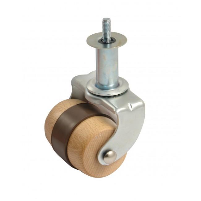 roulette en bois sur platine tube zingu bande souple charge 100 kg avl bricozor. Black Bedroom Furniture Sets. Home Design Ideas