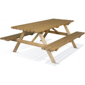 Table pique nique en bois avec bancs - longueur 200 cm - Team JARDIPOLYS