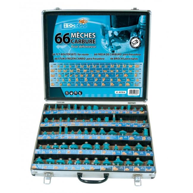 Coffret 66 mèches carbures pour défonceuse queue 8 mm LEMAN