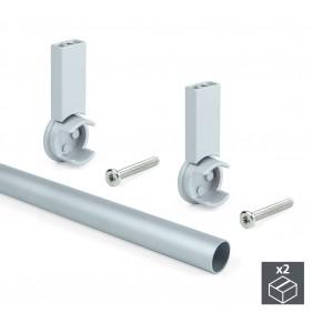 Kit de 2 barres penderie et supports Keeper pour armoire - gris EMUCA