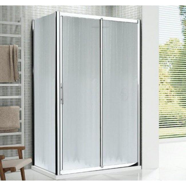 Porte coulissante 2 panneaux verre transparent Lunes - 144 à 150 cm NOVELLINI